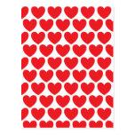 Modelo rojo de los corazones postal