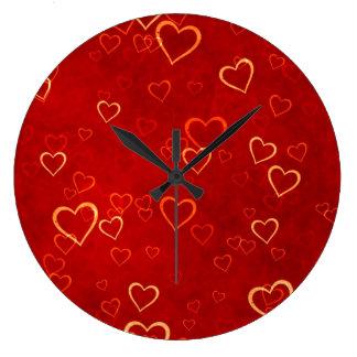 modelo rojo de los corazones reloj redondo grande