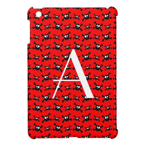 Modelo rojo de los cráneos del monograma iPad mini carcasas