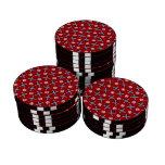 modelo rojo de los esquís y de los copos de nieve juego de fichas de póquer