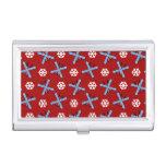 modelo rojo de los esquís y de los copos de nieve caja de tarjetas de negocios