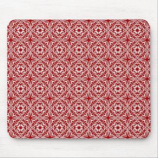 Modelo rojo de lujo del damasco del día de fiesta tapetes de ratón