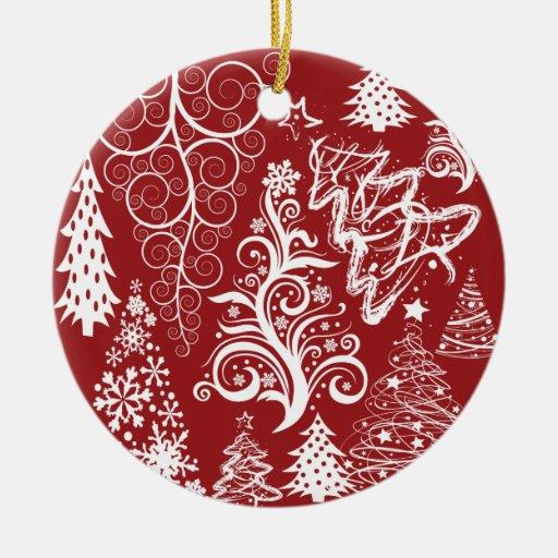 Modelo rojo de Navidad del árbol de navidad del Adorno Redondo De Cerámica
