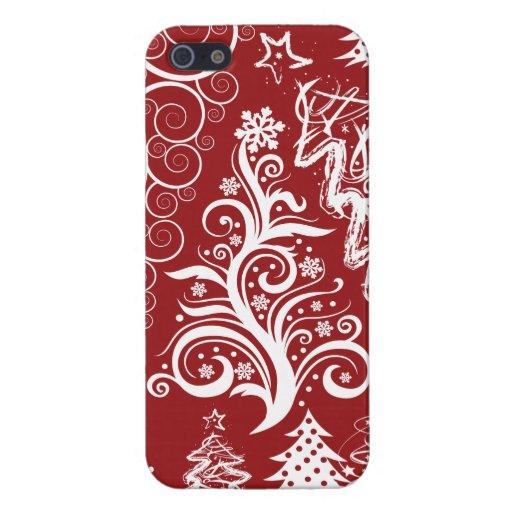 Modelo rojo de Navidad del árbol de navidad del dí iPhone 5 Funda