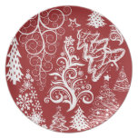 Modelo rojo de Navidad del árbol de navidad del dí Platos De Comidas