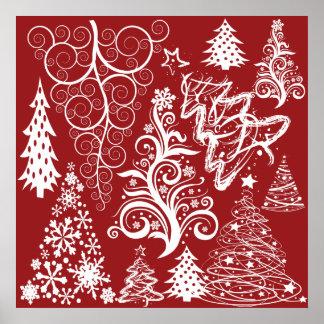 Modelo rojo de Navidad del árbol de navidad del dí Póster