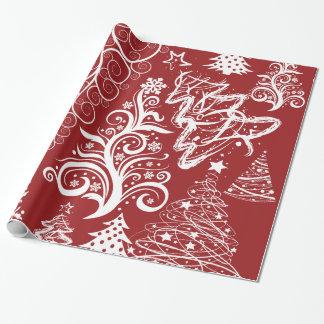 Modelo rojo de Navidad del árbol de navidad del Papel De Regalo
