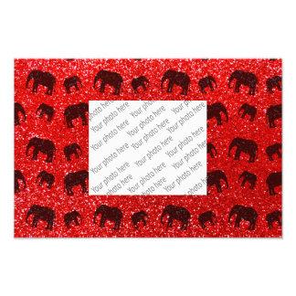 Modelo rojo de neón del brillo del elefante cojinete