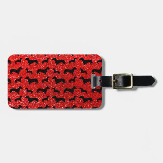 Modelo rojo de neón lindo del brillo del dachshund etiquetas para equipaje