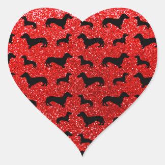 Modelo rojo de neón lindo del brillo del dachshund pegatinas corazon