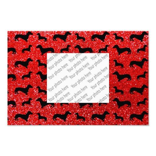 Modelo rojo de neón lindo del brillo del dachshund arte con fotos