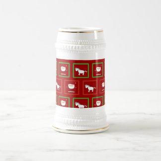 Modelo rojo de Papá Noel de los unicornios Jarra De Cerveza