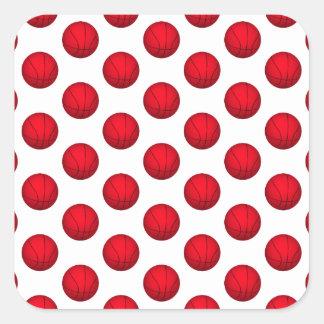 Modelo rojo del baloncesto pegatina cuadrada