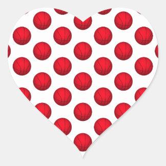 Modelo rojo del baloncesto pegatina en forma de corazón