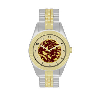 Modelo rojo del brocado del oro relojes de pulsera