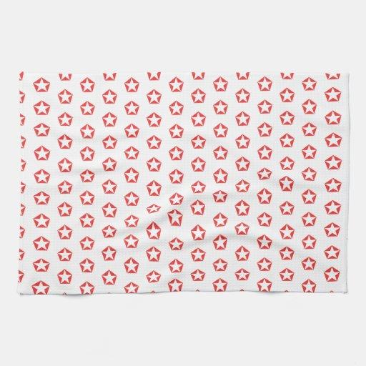 Modelo rojo del círculo de la amapola blanca de la toallas de mano
