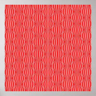 Modelo rojo del círculo de la sandía brillante póster