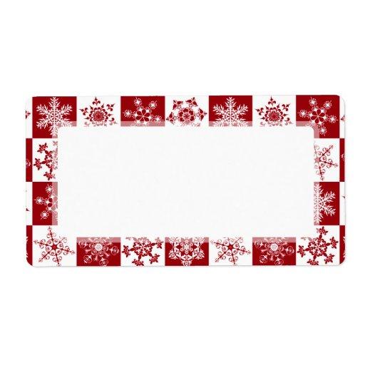 Modelo rojo del copo de nieve del navidad tradicio etiquetas de envío