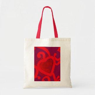 Modelo rojo del corazón (2) bolsas lienzo