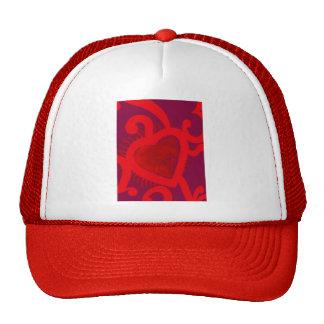 Modelo rojo del corazón (2) gorras
