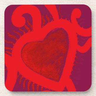 Modelo rojo del corazón (2) posavaso