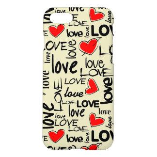 Modelo rojo del corazón del amor funda para iPhone 7