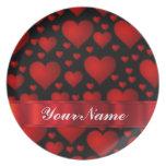 Modelo rojo del corazón del amor platos