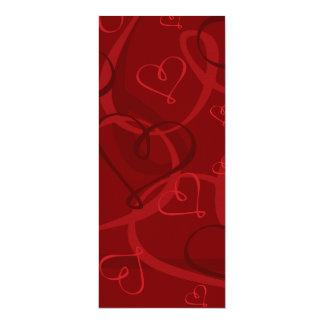 """Modelo rojo del corazón invitación 4"""" x 9.25"""""""