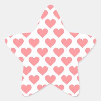 Modelo rojo del corazón pegatina en forma de estrella
