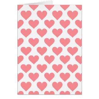Modelo rojo del corazón tarjeta de felicitación