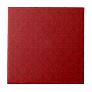 Modelo rojo del damasco azulejo cuadrado pequeño