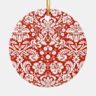 Modelo rojo del damasco adorno redondo de cerámica