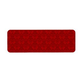 Modelo rojo del damasco etiqueta de remite