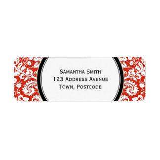 Modelo rojo del damasco etiquetas de remite