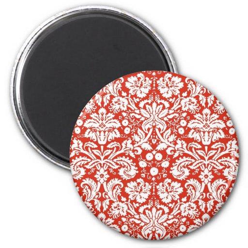 Modelo rojo del damasco imán redondo 5 cm