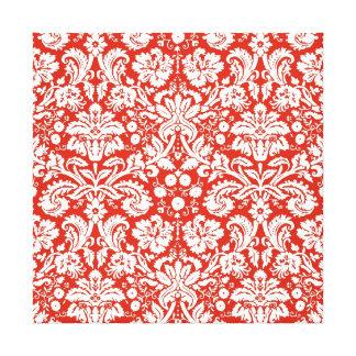 Modelo rojo del damasco impresión en lienzo estirada