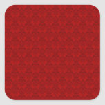 Modelo rojo del damasco pegatina cuadrada