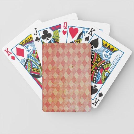 Modelo rojo del diamante del papel pintado viejo,  barajas de cartas