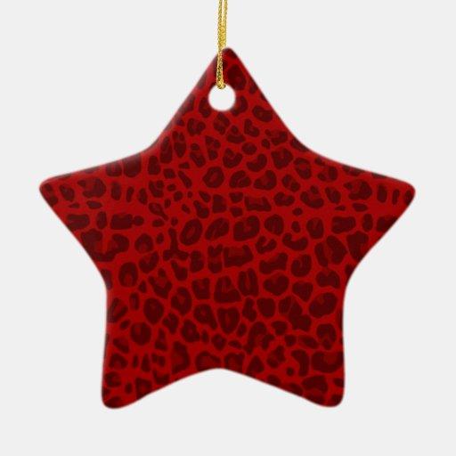 Modelo rojo del estampado leopardo ornamentos de reyes