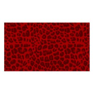 Modelo rojo del estampado leopardo tarjetas de visita