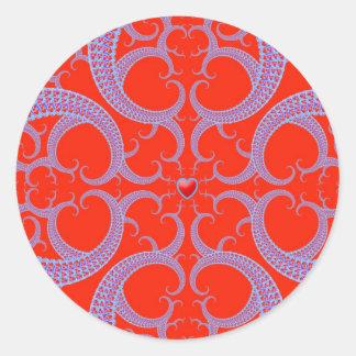 Modelo rojo del fractal del corazón pegatina redonda