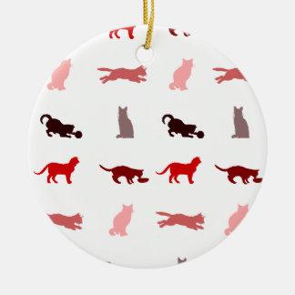 Modelo rojo del gato ornaments para arbol de navidad
