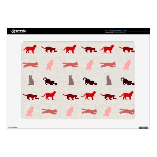 Modelo rojo del gato portátil 38,1cm skins