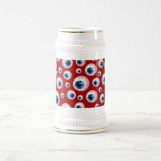 Modelo rojo del globo del ojo jarra de cerveza