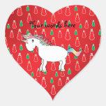Modelo rojo del muñeco de nieve del unicornio del colcomanias de corazon