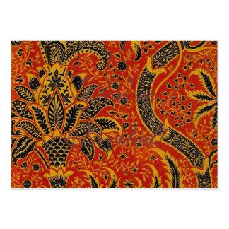 Modelo rojo del papel pintado de la alfombra invitación 11,4 x 15,8 cm