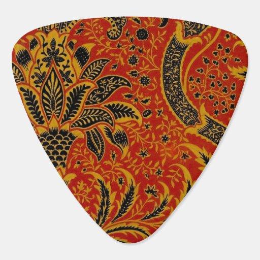Modelo rojo del papel pintado de la alfombra uñeta de guitarra