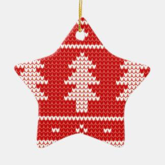 Modelo rojo del punto del puente de los árboles de adorno navideño de cerámica en forma de estrella