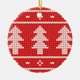 Modelo rojo del punto del puente de los árboles de adorno navideño redondo de cerámica