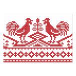 Modelo rojo del ruso del punto de cruz de los tarjetas de visita grandes